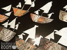 America Discovered -this one, the categories & the art -Creating zentangle Explorer ships to display the major reasons early Europeans set out to explore the new world (ideas for teaching this in the post) 5th Grade Social Studies, 6th Grade Art, Social Studies Activities, Teaching Social Studies, Teaching History, Art Activities, Teaching Art, Learning Resources, Teaching Ideas