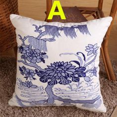Embroidered flower decorative pillow for sofa Chinese style Blue and White