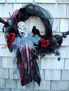 Halloween Wreath Spooky Skeleton Wreath Bat by TisTheSeasonDesign, $49.99