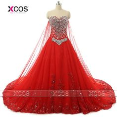 Find More Wedding Dresses Information about Luxury Cathedral Crystal Red Wedding Dress Long Train Sweetheart Beaded Lace up Lace Ball Gown Bling Bridal Dresses 2016 SA172,High Quality dress chevron,China dress code for man Suppliers, Cheap dress flower from XCOS Wedding Dresses Co.,Ltd on Aliexpress.com