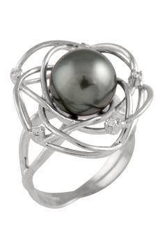 9-10mm Black Tahitian Pearl Diamond Ring - 0.08 ctw
