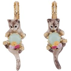 Les Néréides LES NEREIDES LOVES ANIMALS SIAMESE CAT AND BLUE STONE... ($145) ❤ liked on Polyvore featuring jewelry, earrings, grey, jewelry earrings, flower jewelry, les nereides jewelry, blue stone jewellery, les nereides earrings and animal earrings