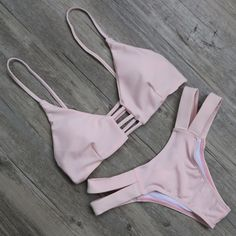 Solid Pink Brazilian Bikini Set Swimwear Swimsuit