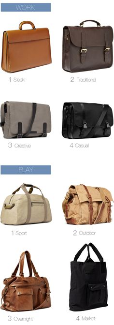 Bags for Men #Menswear Like our FB page https://www.facebook.com/effstyle
