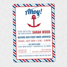 Nautical Anchor Baby Shower Invitation Printable by OhCreativeOne, $12.50