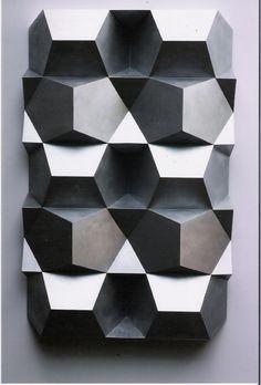 Gerard Caris, relief-sculpture - woud make a cool geometric pattern Abstract Sculpture, Sculpture Art, Module Design, 3d Texture, Metal Texture, Art Abstrait, Geometric Art, Geometric Patterns, Textures Patterns