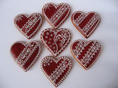 Valentines Day Cookies, Holiday Cookies, Ginger Bread Cookies Recipe, Ginger Cookies, Lace Cookies, Royal Icing Cookies, Heart Shaped Cookies, Heart Cookies, Christmas Gingerbread