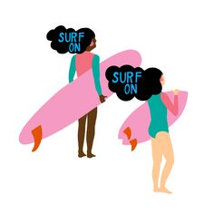 Surfing Art Giclee Print of an Original Illustration by KateMockfordStudio on Etsy