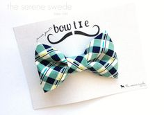 Mint and Navy Clip on Bow Tie / Toddler Bow Tie by TheSereneSwede