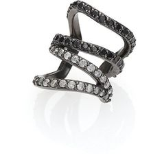 PHYNE by Paige Novick Lilly Black/White Diamond & Blackened 14K White... ($1,530) ❤ liked on Polyvore featuring jewelry, earrings, apparel & accessories, white gold ear cuff, white gold earrings, 14 karat gold earrings, pave diamond earrings and white gold diamond jewelry
