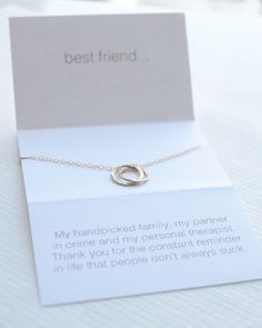 Best Friend Necklace - dainty linked circles and a lighthearted and fun message make a perfect gift for you BFF. Available in silver, gold and rose gold. By Olive Yew.