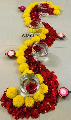 Beautiful zigzag shape flower arrangement for Diwali festival.