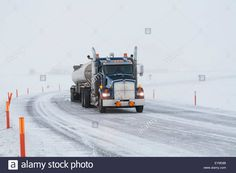 Fuel Tanker Truck On Icy Roads In The Prudhoe Bay Oil Field ...