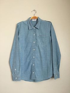FRAME DENIM Le Classic Stretch Cotton Button Down Pocket Shirt Chambray S $180 #FrameDenim #ButtonDownShirt #Casual