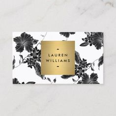 Shop Vintage Black Floral Pattern Business Card created by Personalize it with photos & text or purchase as is! Elegant Business Cards, Modern Business Cards, Business Card Logo, Business Card Design, Elegant Logo, Motif Floral, Floral Design, White Art, Card Templates