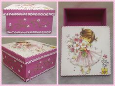 Multi Purpose Girl Wooden Box Raised Decoupage by CLVLArtsBrazil, $40.00