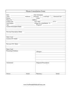 use this free, printable phone consultation form to record patients ...