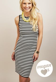 As seen in People StyleWatch -- black and white shoreline stripe dress. #KarenKane #hotmama #summerinthecity