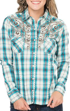 Panhandle Women's Turquoise & Red Plaid with Embroidery Long Sleeve Western Shirt   Cavender's