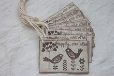 Set of 12 Happily Ever After Love Bird Tags by queenofpapercards, $5.25