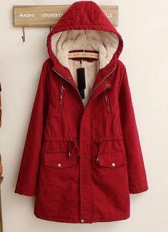 Womens Parka Outerwear Coat Hooded Thicken Cotton-Padded Jacket Zip Winter Warm