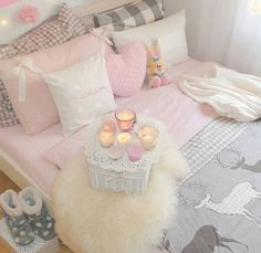 Romantic home decor, pastel home decor, romantic homes, cute room d Pastel Home Decor, Romantic Home Decor, Romantic Homes, Dream Bedroom, Girls Bedroom, Bedroom Decor, Bedrooms, Bedroom Ideas, Kawaii Room