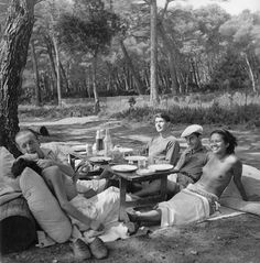 Google+ In 1937 France, Women were topless and men wore shirts.   Nusch Éluard, Paul Éluard, Roland Penrose, Man Ray, Ady Fidelin, Île Sainte-Marguerite, France, 1937, by Lee Miller