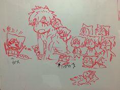 Sketches of an overload Rin ...  From nonta2323 ... Free! - Iwatobi Swim Club, free!, iwatobi, neko, cat, rin matsuoka, rin, matsuoka, makoto tachibana, makoto, tachibana