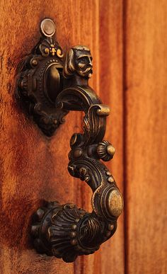 SMA Door Knocker 6    		Walking around San Miguel de Allende. A person could run tours of  doors and their knockers alone. These samples barely scratch the  surface of the variety.