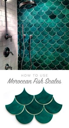 How to use Moroccan Fish Scales for your bath or shower wall! Unique tile with a gorgeous impact - simple yet stunning. See which colors and size are right for your space! #bathroomideas...