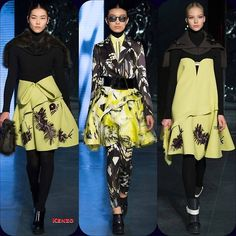 Kenzo RTW FW '14 Liu Wen // Sissi Hou // Sasha Luss  Stylist Picks: This acid green series is like something out of a fever dream.  Source: oncewheniwas.com