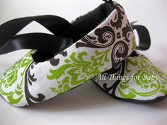 Baby girl shoes black and lime green mary jane ballet flat- Parisian Elegance Lime