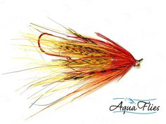 Aqua Flies - Stu's Mini Intruder Steelhead Shank Fly Fishing Fly - Yellow Orange - Set of 3 Flies
