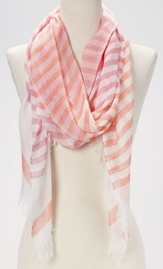 Pink Woven Stripe Scarf