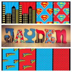 Custom Decorated Wooden Letters Superman theme by NiftyNancy23