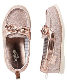 Baby Girl OshKosh Rose Gold Sparkle Boat Shoes from OshKosh Bgosh. Shop clothing... #bgosh #clothing #oshkosh #shoes #sparkle