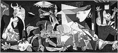 """The major painting of 1937 was titled """"Guernica"""" by Pablo Picasso.  It was nearly 8 meters long.  This painting reveals a bombing, while a soldier lays dead on the floor and a women is screaming wildly."""