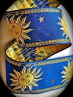 Sun Woven Jacquard 2 1/4 x 3 yds in Blue Yellow by LesBonRibbon