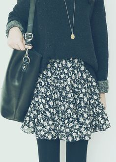 floral skirt + sweatshirt + tights