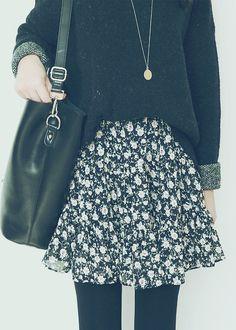 Korean fashion - black sweater, black floral skirt, leggings and black shoulder bag