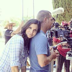Aww. Daniela Ruah & Chris O'Donnell on the set of NCIS:LA.