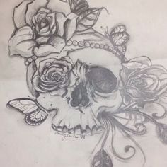 An tattoo idea I created #art #emilysart #skull #roses