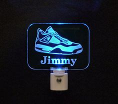 "#TennisShoe #Sneaker #runners Personalized LED Night Light - #UniqueLEDProducts 3/8"" Engraved Clear Acrylic with Multicolor LED Light Bases"