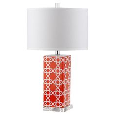 Showcasing an exotic Moroccan tile-inspired motif in orange with a crisp white drum shade, this chic table lamp is a perfect addition to your reading nook or...
