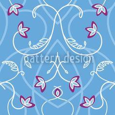 Hochqualitative Vektor-Muster auf patterndesigns.com - Blumen-Ornament-in-Blau, designed by Martina Stadler