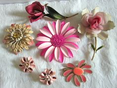 Vintage ENAMEL Flower Pin Brooch & Earring Jewelry by jewelryannie, $22.50