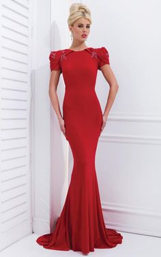3a2b64c7518 Tony Bowls Evenings Slim Red Prom Dress U Shaped Sheer Back With Flower  Shaped Sleeves