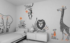 Kids Room Decoration from e-glue Wall-sticker-for-kids-bedroom-wall-decorating. Animal Wall Decals, Kids Wall Decals, Kids Stickers, Wall Stickers, Bedroom Stickers, Nursery Decals, Childrens Bedroom Wallpaper, Kids Bedroom, Bedroom Decor