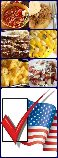"""#Election day #menu: """"What's your party?"""" Pizza Fondue """"Yankee Doodle"""" Macaroni & Cheese: BBQ Ribs: Red, White & Blue potatoes: Corn on the Cob: (As American As..) Apple Pie:"""