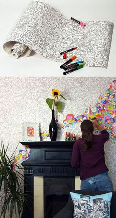 Color your own wallpaper! This is perfect for a kid-friendly home.